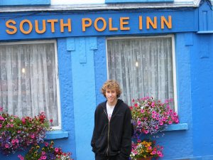 Andrew outside the South Pole Inn